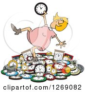 Clipart Of A Caucasian Blond Woman Falling Back On A Pile Of Clocks Royalty Free Vector Illustration