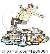 Clipart Of A Caucasian Businessman Falling Back On A Pile Of Clocks Royalty Free Vector Illustration