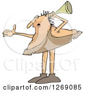 Clipart Of A Hard At Hearing Caveman Holding A Horn Up To His Ear Royalty Free Vector Illustration by djart