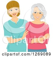 Clipart Of A Friendly Caucasian Female Nurse Talking To A Senior Woman Royalty Free Vector Illustration