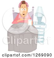 Clipart Of A Senior Caucasian Woman Taking A Pill At Bed Time Royalty Free Vector Illustration