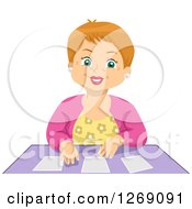 Clipart Of A Happy Senior Caucasian Woman Playing Cards Royalty Free Vector Illustration