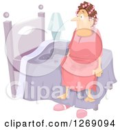 Clipart Of A Senior Caucasian Woman Sitting Up In Her Bed After Wetting It Royalty Free Vector Illustration