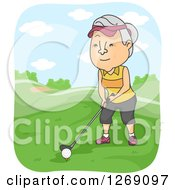 Clipart Of A Senior Caucasian Woman Golfing Royalty Free Vector Illustration by BNP Design Studio