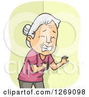 Clipart Of A Senior Caucasian Woman Clutching Her Chest While Having A Heart Attack Royalty Free Vector Illustration