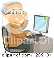 Clipart Of A Senior Caucasian Man Adjusting His Glasses And Using A Desktop Computer Royalty Free Vector Illustration