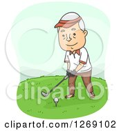 Clipart Of A Senior Caucasian Man Golfing Royalty Free Vector Illustration by BNP Design Studio