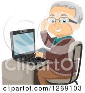 Clipart Of A Senior Caucasian Man Adjusting His Glasses And Using A Laptop Computer Royalty Free Vector Illustration