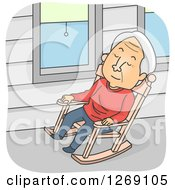 Poster, Art Print Of Senior Caucasian Man Napping In A Rocking Chair On A Porch