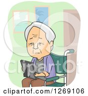 Clipart Of A Sad Senior Caucasian Man Looking At A Picture And Sitting In A Wheelchair In A Nursing Home Royalty Free Vector Illustration