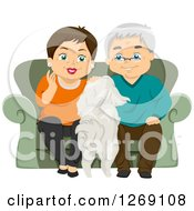 Senior Caucasian Couple Sitting On A Couch And Petting Their Dog