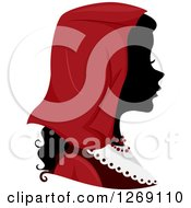 Clipart Of A Silhouetted Black Italian Womans Face With A Red Headdress Royalty Free Vector Illustration