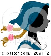 Clipart Of A Silhouetted Black Austrian Womans Face With A Colored Bonet And Braids Royalty Free Vector Illustration