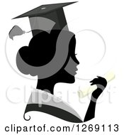 Clipart Of A Silhouetted Black Graduate Womans Face With A Grayscale Collar And Colored Degree Royalty Free Vector Illustration by BNP Design Studio