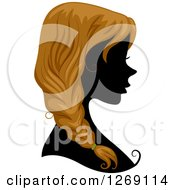Clipart Of A Silhouetted Black Womans Face With Blond Hair In A Braid Royalty Free Vector Illustration