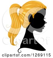Clipart Of A Silhouetted Black Womans Face With Blond Hair In A Pony Tail Royalty Free Vector Illustration by BNP Design Studio