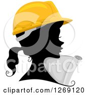 Clipart Of A Silhouetted Black Contractor Engineer Womans Face With A Colored Hard Hat And Plans Royalty Free Vector Illustration