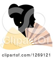 Clipart Of A Silhouetted Black Filipino Womans Face With A Colored Collar And Fan Royalty Free Vector Illustration by BNP Design Studio