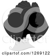 Clipart Of A Silhouetted Grayscale French Womans Face With A Hat Royalty Free Vector Illustration