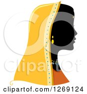 Silhouetted Black Indian Womans Face With A Colored Headdress