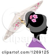 Clipart Of A Silhouetted Black Japanese Womans Face With A Colored Kimono And Umbrella Royalty Free Vector Illustration by BNP Design Studio