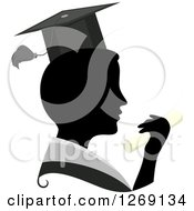 Clipart Of A Silhouetted Black Graduate Mans Face With A Grayscale Collar Hat And Colored Diploma Royalty Free Vector Illustration by BNP Design Studio