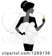 Clipart Of A Silhouetted Black Bride In A Grayscale Dress And Holding Colored Champagne Royalty Free Vector Illustration
