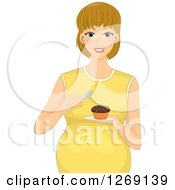 Clipart Of A Happy Blond Pregnant White Woman Eating A Cupcake Royalty Free Vector Illustration by BNP Design Studio