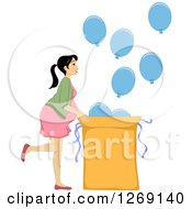 Clipart Of A Brunette White Prengnat Woman Revealing The Gender Of Her Baby With Blue Balloons For A Boy Royalty Free Vector Illustration