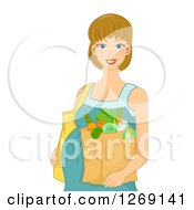 Clipart Of A Happy Blond White Pregnant Woman Carrying A Bag Of Groceries Royalty Free Vector Illustration