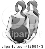 Clipart Of A Sketched Grayscale Doula Helping A Pregnant Woman Royalty Free Vector Illustration