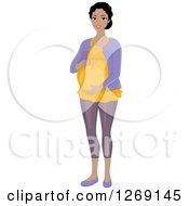 Clipart Of A Happy Pregnant Young Black Woman Holding Her Belly Royalty Free Vector Illustration by BNP Design Studio