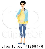 Clipart Of A Happy Pregnant Young Asian Woman Holding Her Belly Royalty Free Vector Illustration