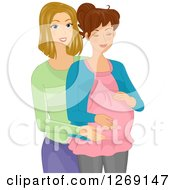 Clipart Of A Blond Caucasian Doula Helping A Pregnant Woman Royalty Free Vector Illustration by BNP Design Studio