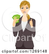 Clipart Of A White Caucasian Business Woman Holding Cash Money And A Thumb Up Royalty Free Vector Illustration