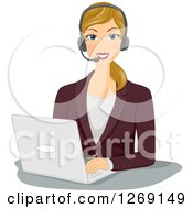 Clipart Of A Happy Blond Caucasian Businesswoman Wearing A Headset And Working On A Laptop Royalty Free Vector Illustration