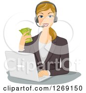 Clipart Of A Blond Caucasian Business Woman Wearing A Headset Holding Cash And Working On A Laptop Royalty Free Vector Illustration