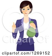 Clipart Of A Young Businesswoman Holding A Money Bag And Giving A Thumb Up Royalty Free Vector Illustration