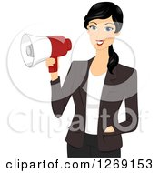 Clipart Of A Young Black Haired Businesswoman Holding A Megaphone Royalty Free Vector Illustration