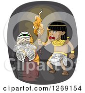 Clipart Of An Ancient Egyptian Man Discovering A Mummy In A Tomb Royalty Free Vector Illustration
