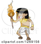 Clipart Of A Happy Ancient Egyptian Man With A Torch Royalty Free Vector Illustration by BNP Design Studio