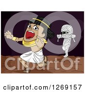 Clipart Of A Mummy Chasing A Scared Ancient Egyptian Man Royalty Free Vector Illustration by BNP Design Studio