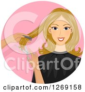 Clipart Of A Blond Caucasian Woman Getting A Hair Cut In A Pink Circle Royalty Free Vector Illustration by BNP Design Studio