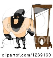 Clipart Of A Beefy Male Executioner Ready At A Guillotine Royalty Free Vector Illustration by BNP Design Studio