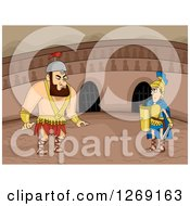 Clipart Of Big And Small Roman Gladiators Ready To Fight In An Arena Royalty Free Vector Illustration
