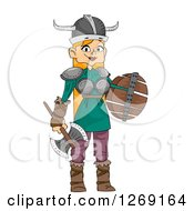 Clipart Of A Red Haired Viking Woman With A Battle Axe And Shield Royalty Free Vector Illustration