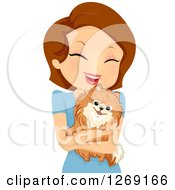 Clipart Of A Happy Brunette Caucasian Woman Hugging Her Pomeranian Dog Royalty Free Vector Illustration