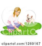 Blond Caucasian Woman Picking Up Dog Poop While Walking A French Bulldog