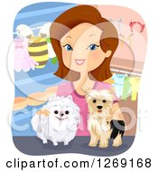 Clipart Of A Happy Brunette Caucasian Woman With Dogs In A Pet Boutique Royalty Free Vector Illustration