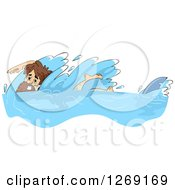 Clipart Of A Castaway Man Swimming Away From A Shark Royalty Free Vector Illustration by BNP Design Studio